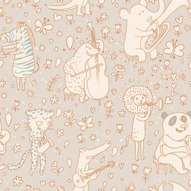 Funny animals musicians in vintage style. Bear, leopard, lion, elk, crocodile, elephant and zebra. Seamless pattern can be used for wallpaper, pattern fills, web page backgrounds, surface textures.
