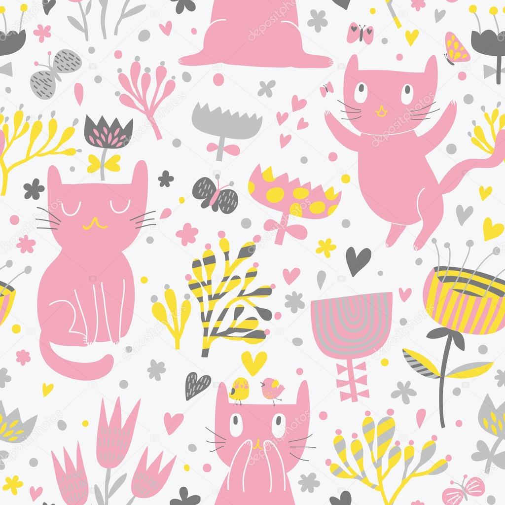 romantic cartoon wallpaper childish background with funny cats and