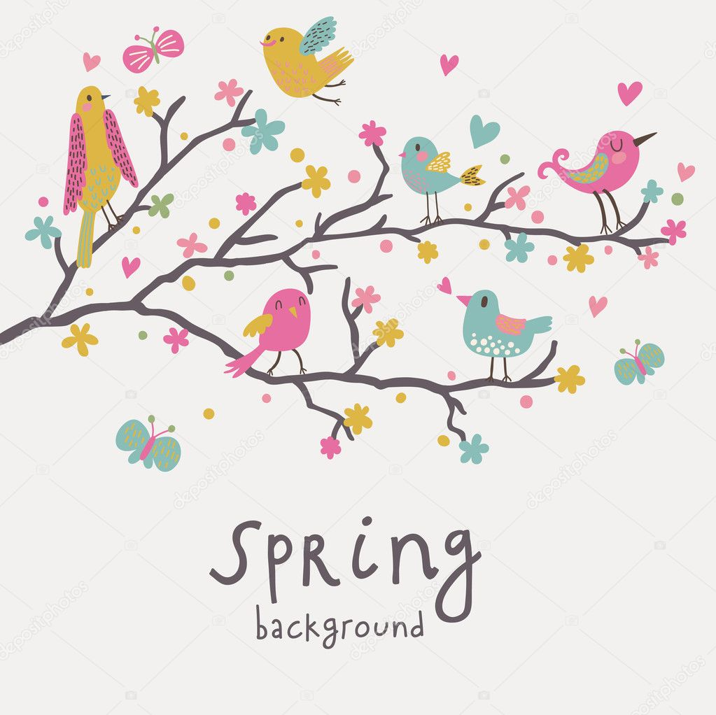 Spring background stylish illustration in vector cute birds on spring background stylish illustration in vector cute birds on branches light romantic card can be used for wedding invitation vector by smilewithjul stopboris Images