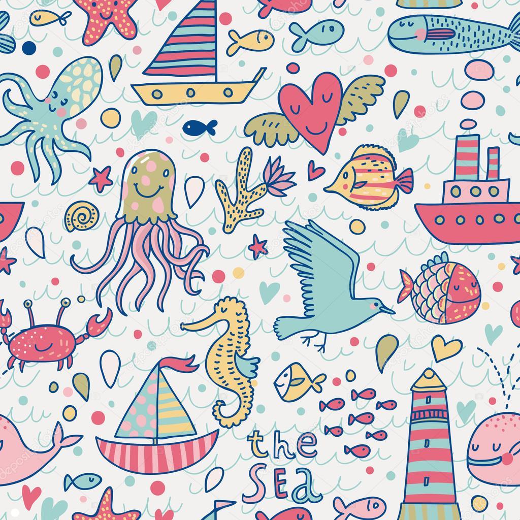 patrón sin costuras concepto marino. Gaviota, ballena, calamar ...