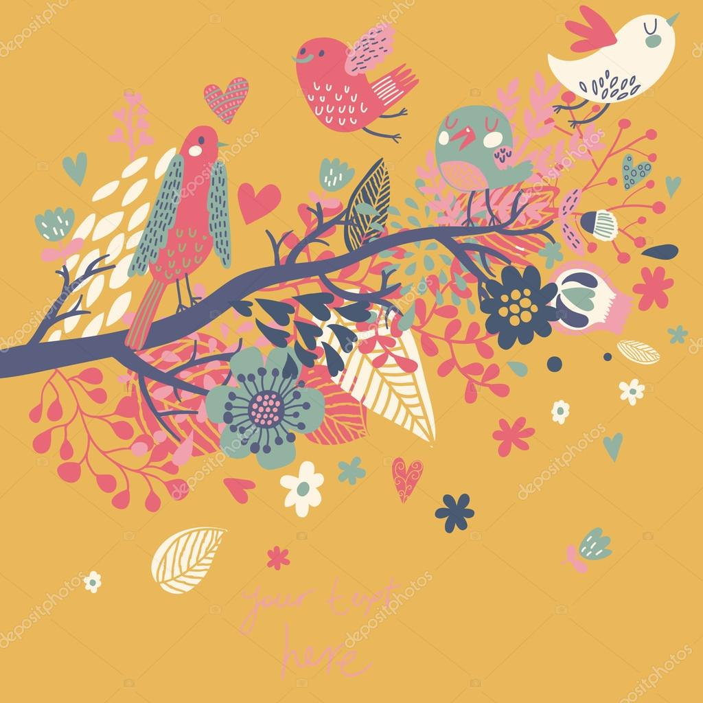 Spring concept illustration cartoon bird on branch in flowers spring concept illustration cartoon bird on branch in flowers floral spring background in vector can be used as wedding invitation vector by stopboris Image collections