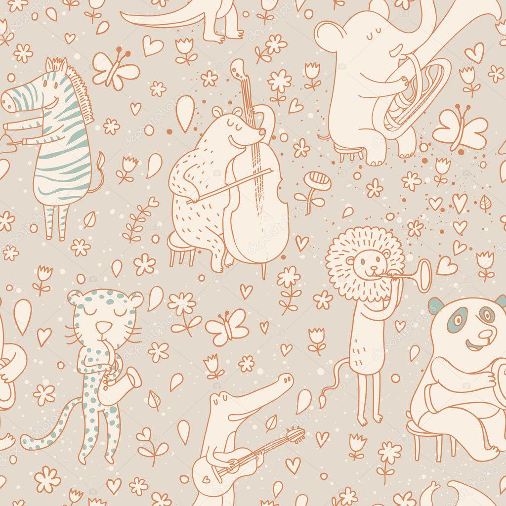 músicos de animales graciosos en estilo vintage. oso, leopardo, León ...