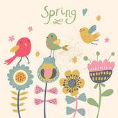 niedliche Zeichentrickvögel auf Blumen. heller blumiger Hintergrund im Vektor. Kindliche Vintage-Elemente