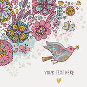 Colorful vintage background. Pastel colored floral wallpaper with bird and butterflies. Cartoon romantic card in vector