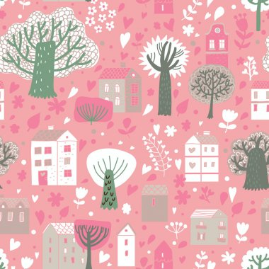 Romantic town in vector. Cute cartoon houses and trees. Seamless pattern can be used for wallpapers, pattern fills, web page backgrounds, surface textures.