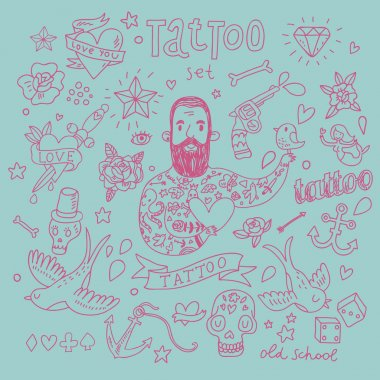 Cartoon tattoo vector set. Cute vintage collection of tattoo heart, pigeon, anchor, diamond, flower, dice, pistol and others