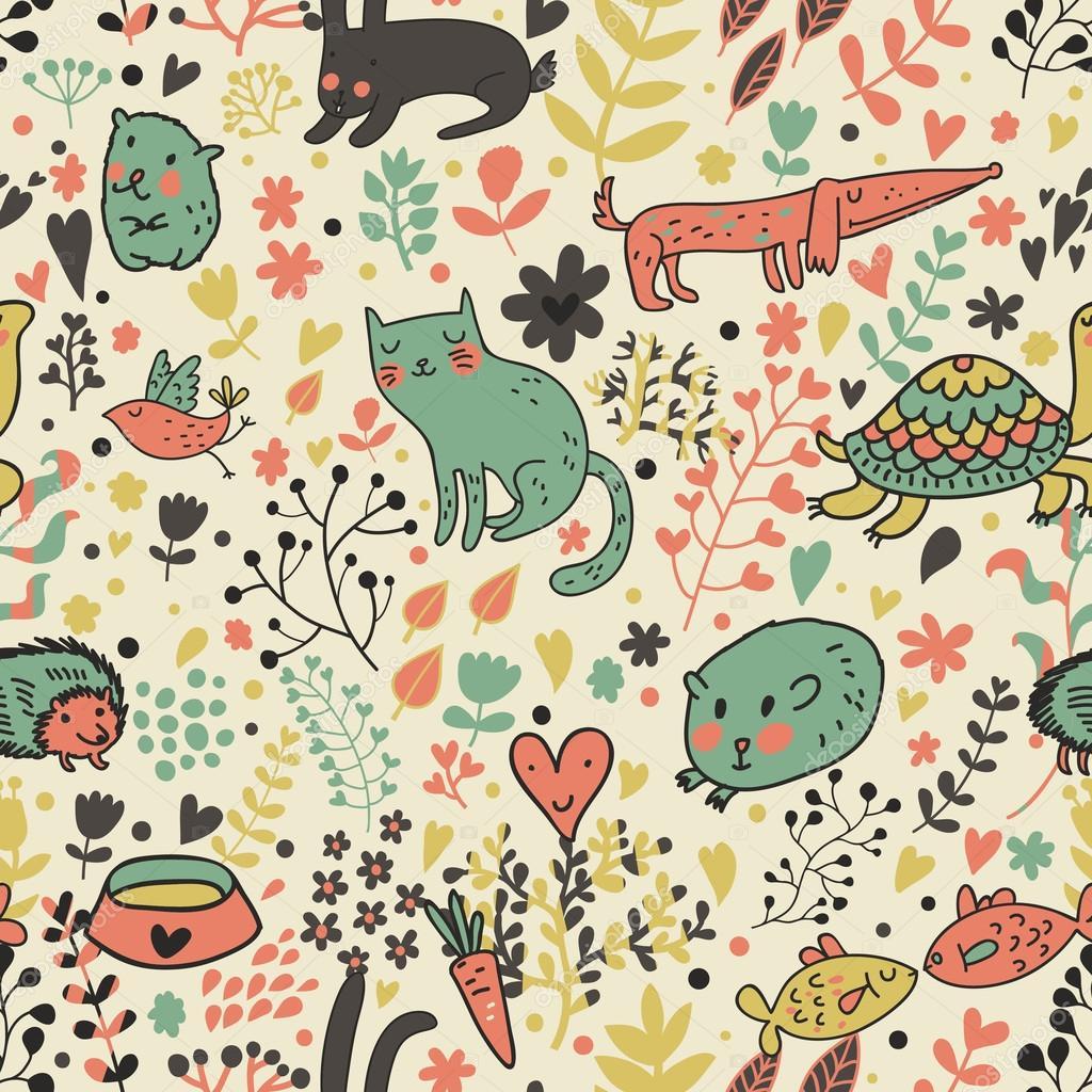 Animales Graciosos En Flores Patrón Sin Costuras De Dibujos