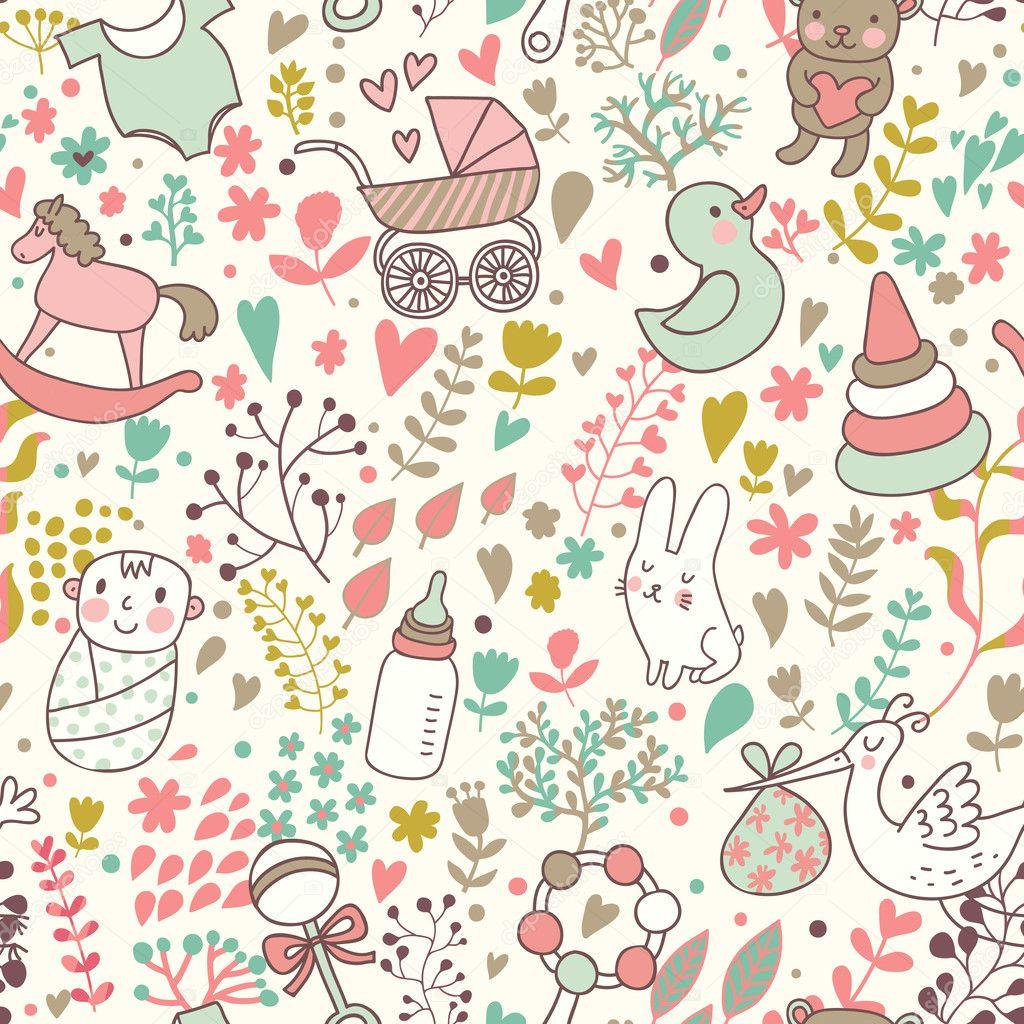 infancia concepto de patrones sin fisuras. juguetes, animales ...
