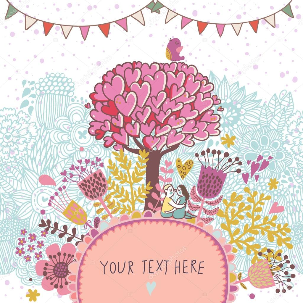 Cartoon Floral Background In Vector Made If Flowers Tree Hearts And Bird Romantic Wallpaper By Smilewithjul