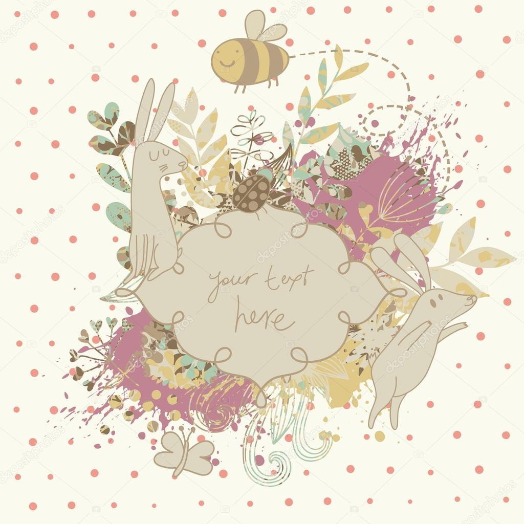 Vintage Floral Wedding Invitation With Cute Rabbits Nice