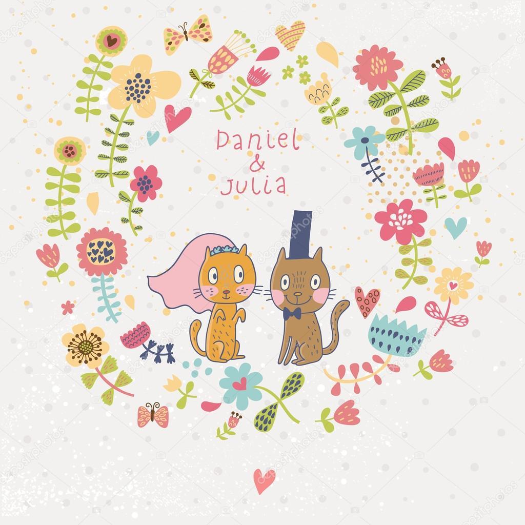Cartoon Hochzeitseinladung. Romantische Blumen Karte Mit Lustigen Katzen  Bräutigam Und Braut. Vektor Wallpaper Blumen