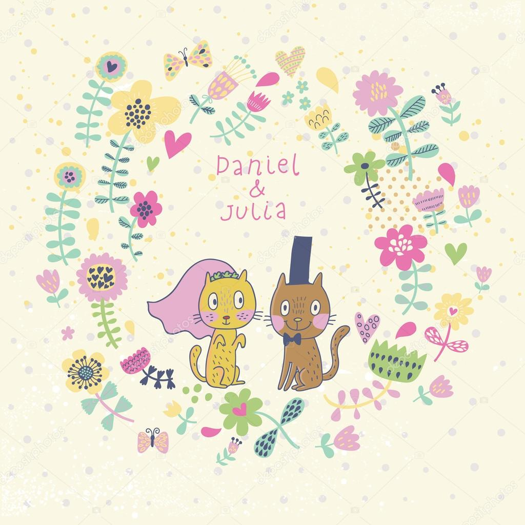 Romantic Floral Card With Funny Cats Groom And Bride Vector Wallpaper