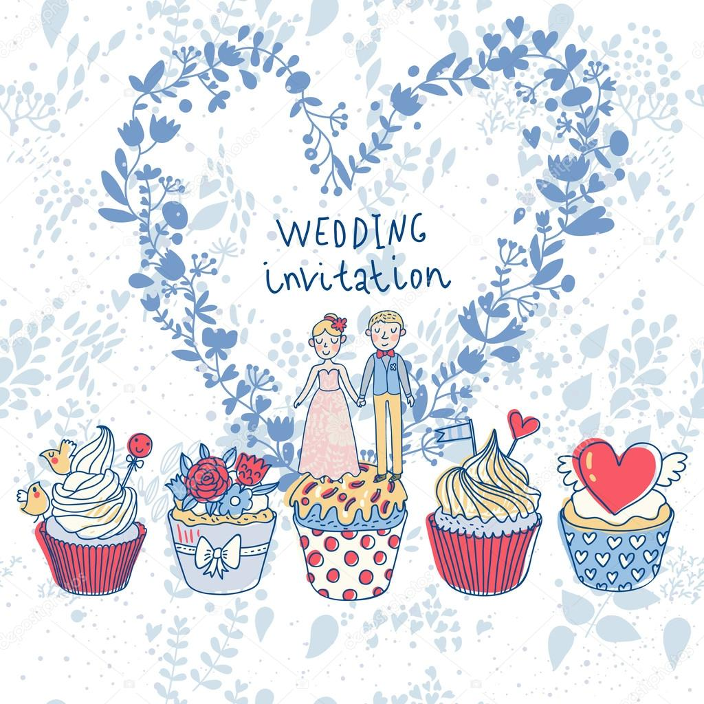 Cute wedding invitation. Couple in love on tasty cupcakes with ...