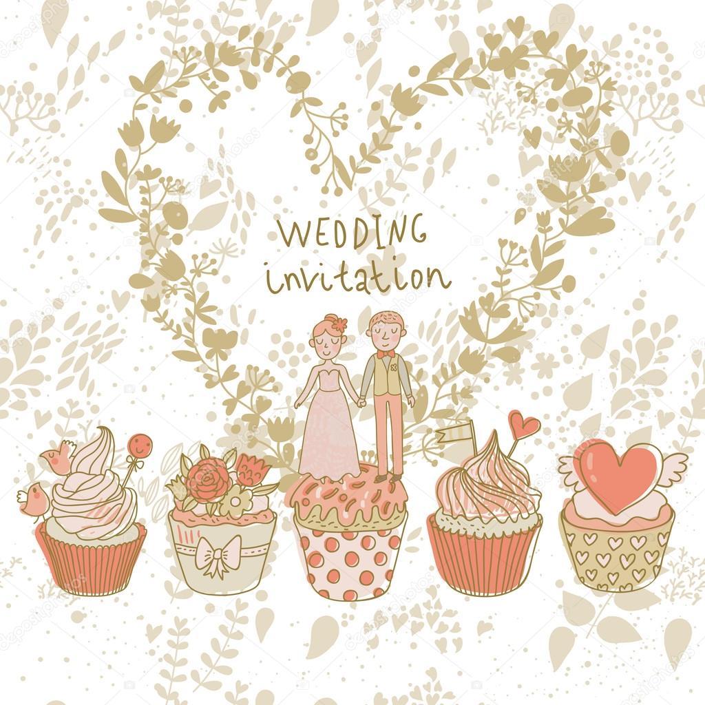 Hubsch Hochzeitseinladung Paar Verliebt Auf Leckere Cupcakes Mit