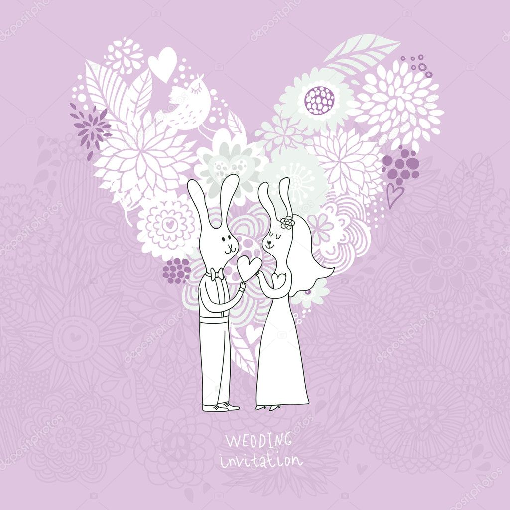Cartoon concept marriage. Romantic background with heart made of ...