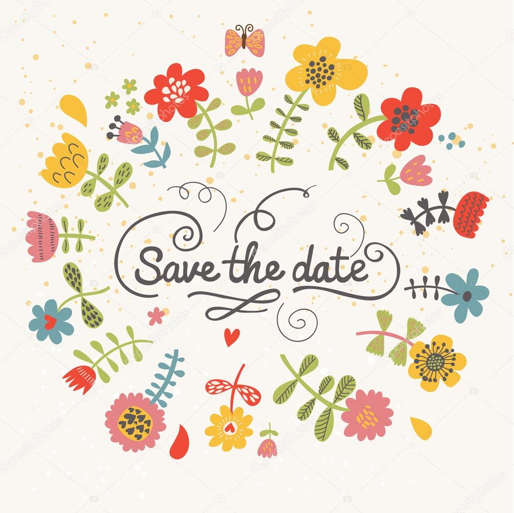 Floral save the date card in bright colors. Colorful wedding ...
