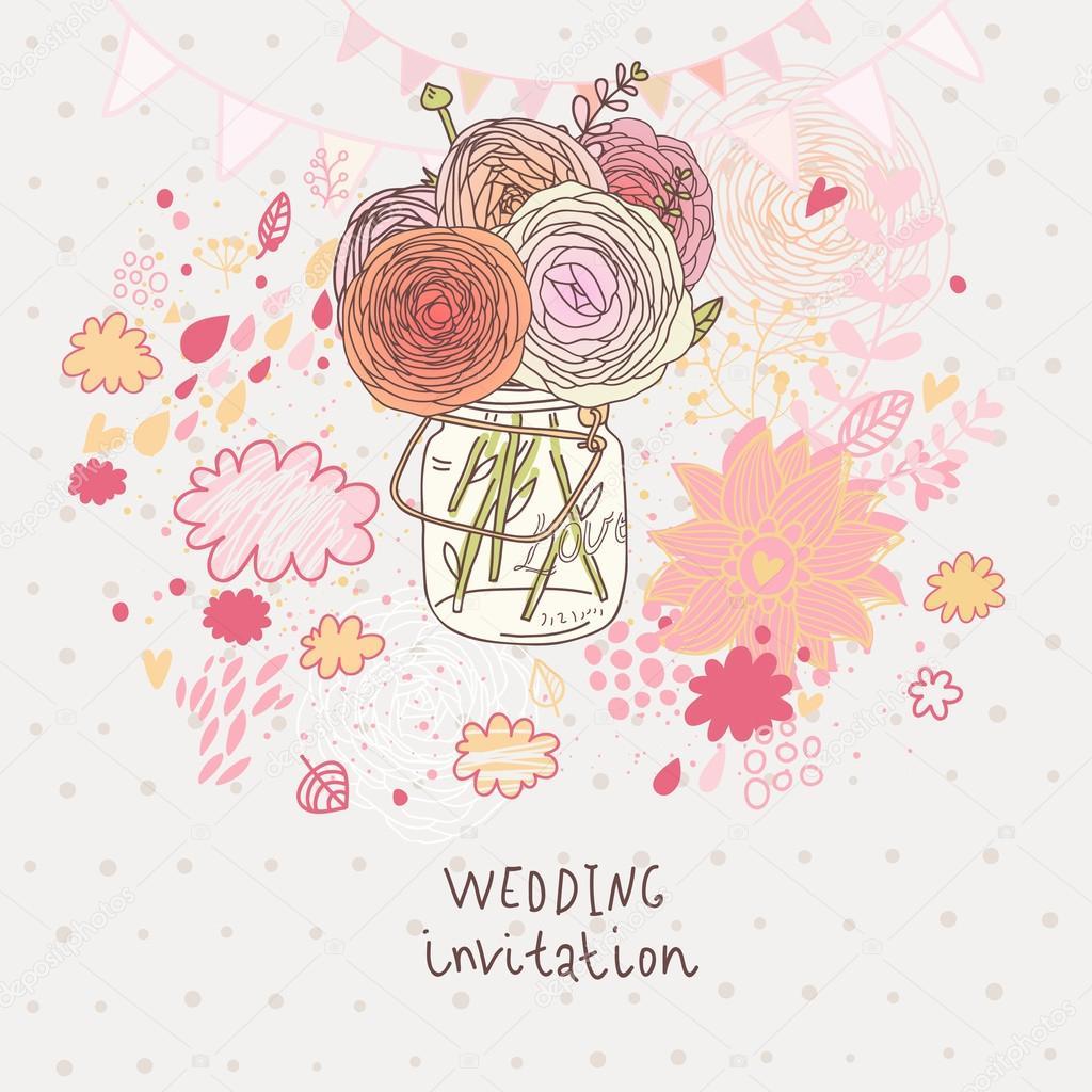 Floral wedding invitation. Flowers in jar - cartoon vector ...