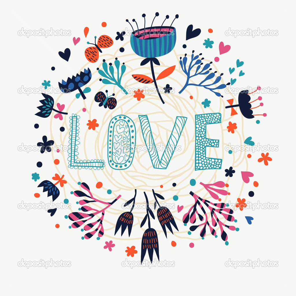 illustration de l'amour. dessin animé romantique. fond d'écran de fleurs sur l'amour en vecteur ...