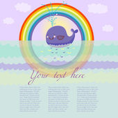 Happy cartoon whale in the see under the rainbow - vector background