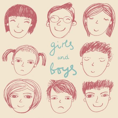 Sketch styled boys and girls in vector
