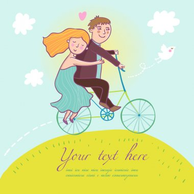 Couple riding a bicycle - summer concept in vector
