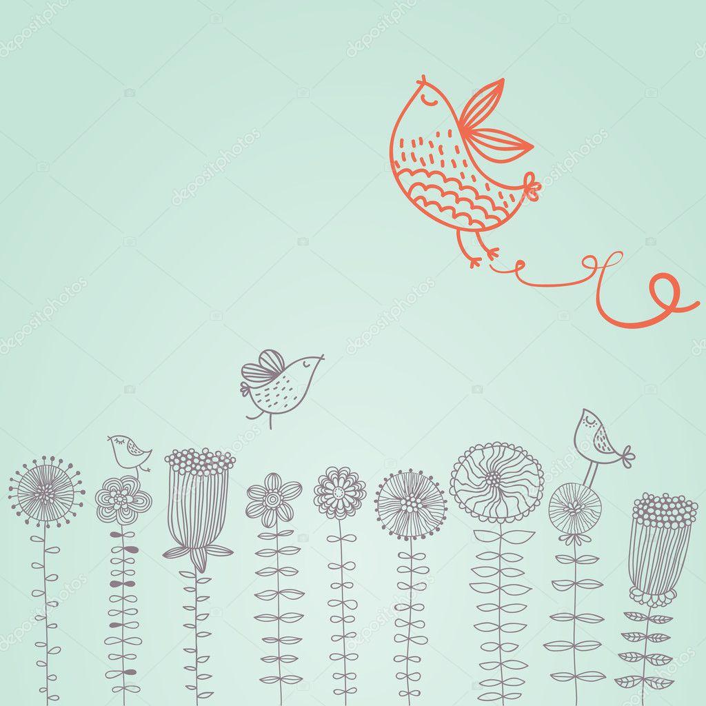 Cartoon birds on the flowers