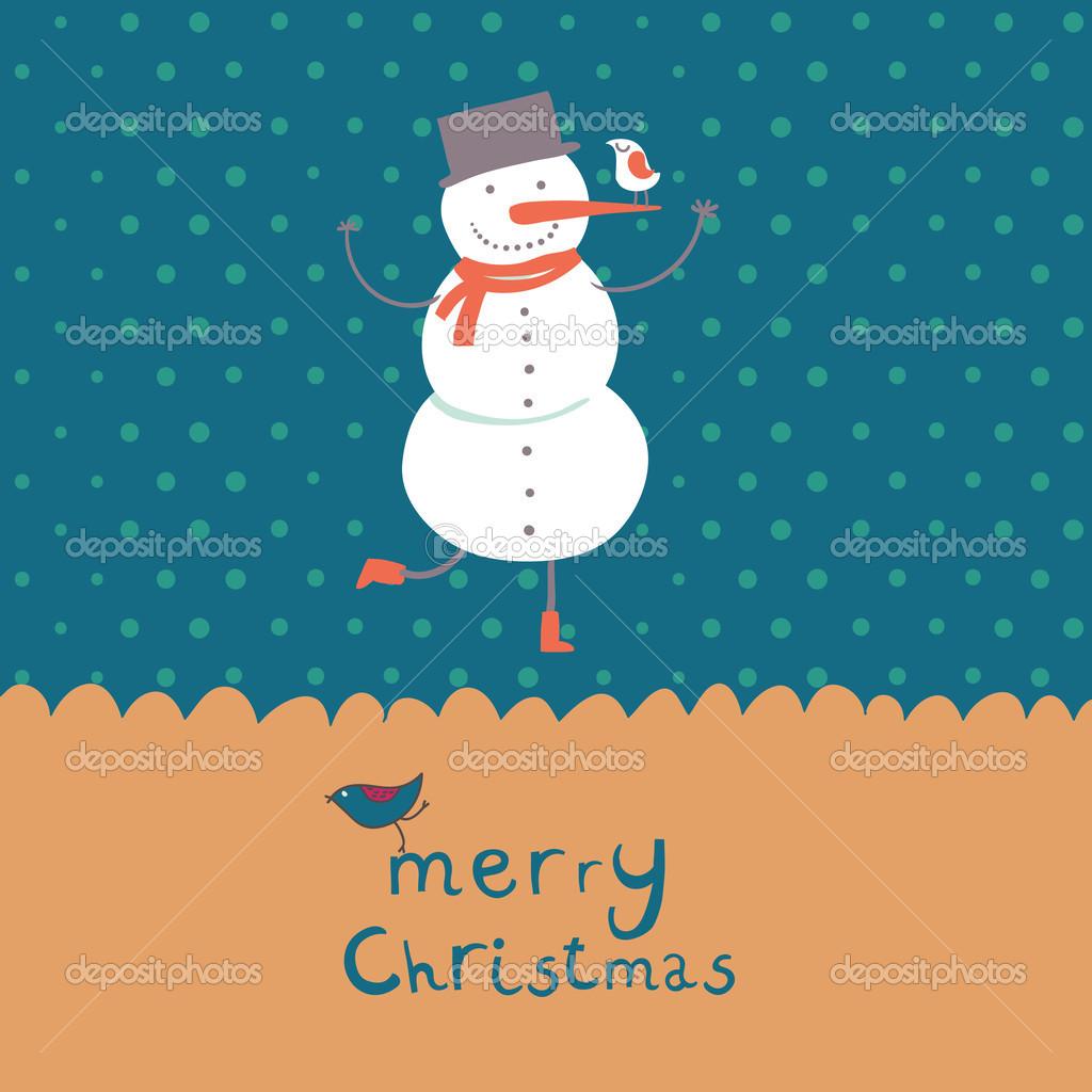 Carte De Noël Dessin Animé Avec Bonhomme De Neige Drôle