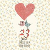 Fényképek Elegáns esküvői meghívó a vektor. Rajzfilm értesítőkártya. Romantikus virágos háttérrel, galambok és a virágok