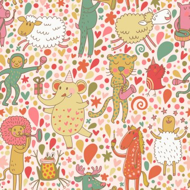 Funny cartoon animal musicians - lion, horse, elephant, monkey, leopard, pig and others. Seamless pattern can be used for wallpapers, pattern fills, web page backgrounds, surface textures.