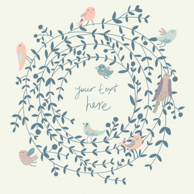 Stylish floral background with birds. Vintage floral card. Ideal for wedding invitations