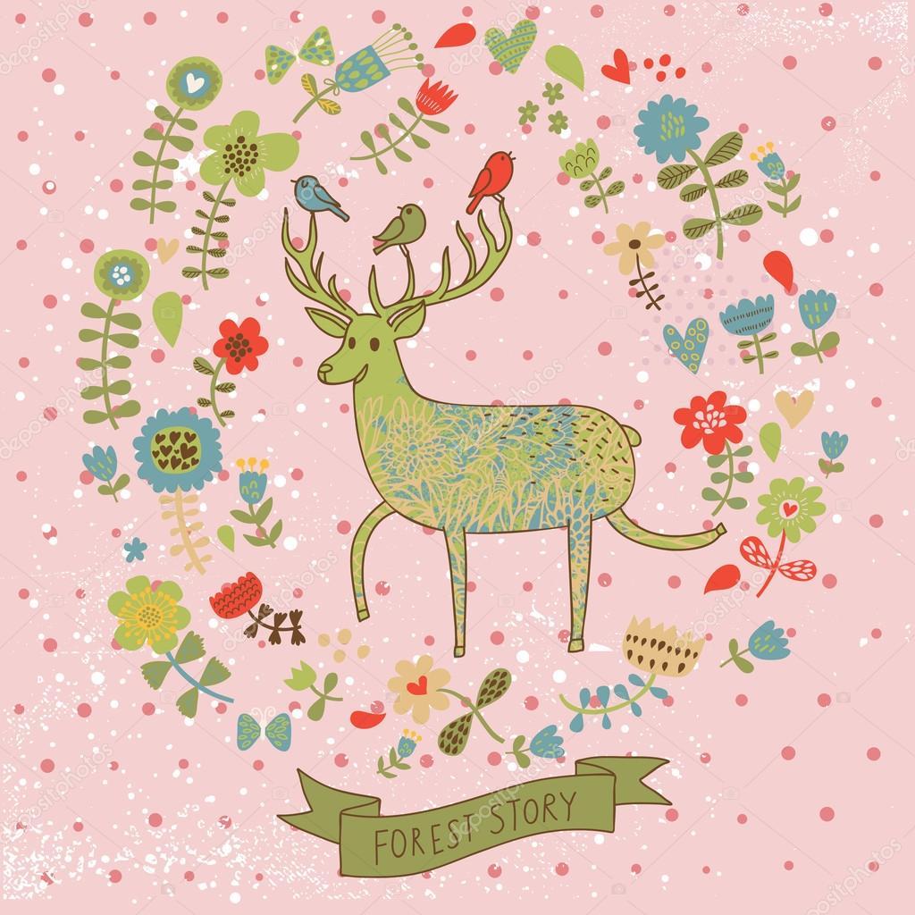 Joli Fond Floral Avec Cerf Dessin Animé Mignon Fond D écran
