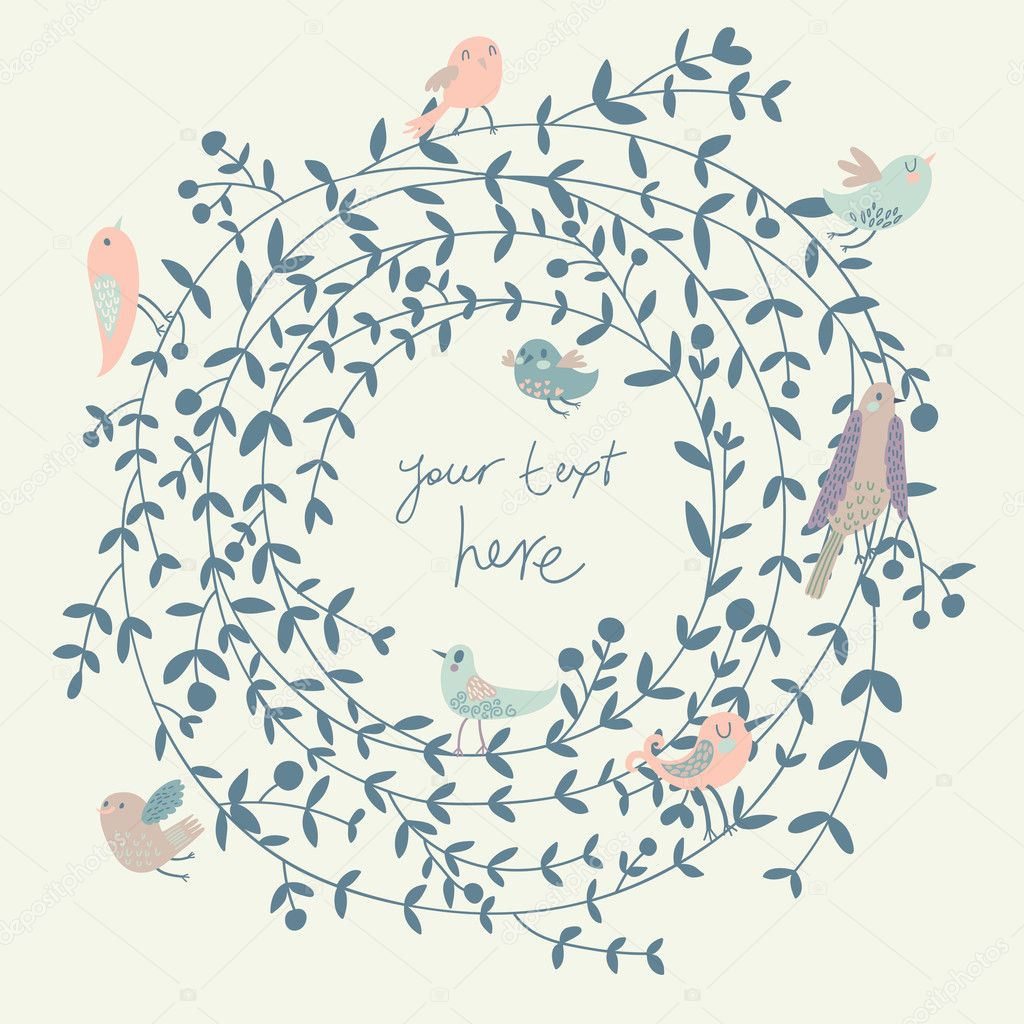 Stylish floral background with birds. Vintage floral card. Ideal for ...