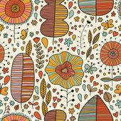 Summer floral wallpaper in vector