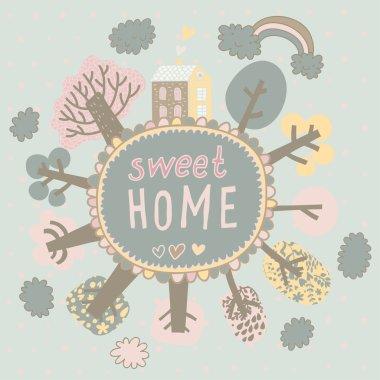 Gentle Sweet Home concept card in vector