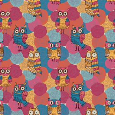 Seamless pattern made of bright flowers with owls