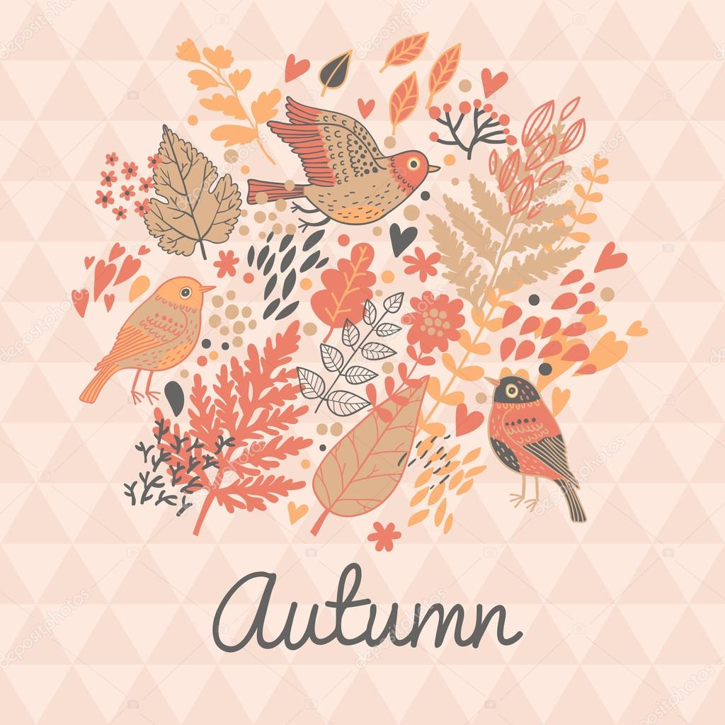 Stylish autumn floral card in pink colors.