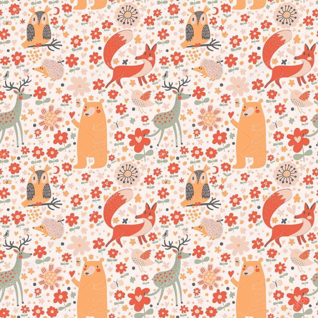 Fox, bear, rabbit, owl, snail in trees and flowers.