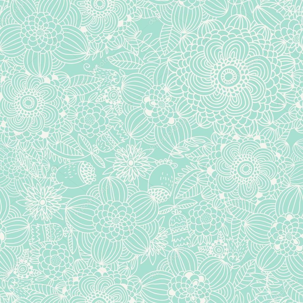Stylish Vintage Floral Background In Blue Color Stock Vector