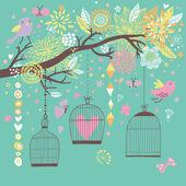 Fotografia carta del concetto di libertà. uccelli fuori gabbie