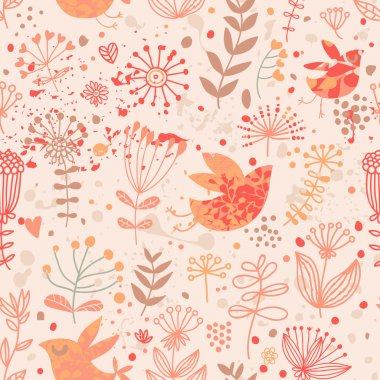 Bright floral wallpaper with cute birds and autumn flowers