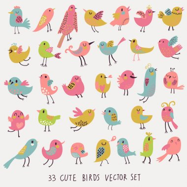 Set of 33 bright beautiful birds in vector.