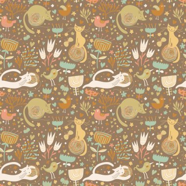 Cute funny cats in hearts, birds and flowers. Seamless pattern can be used for wallpapers, pattern fills, web page backgrounds, surface textures. clip art vector