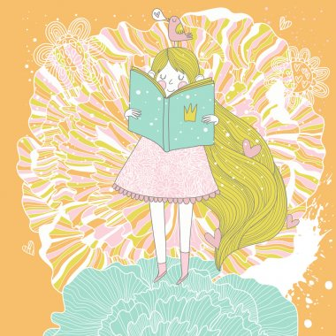 Book reading princess in pastel colors.