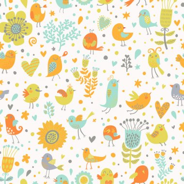 Retro garden seamless pattern