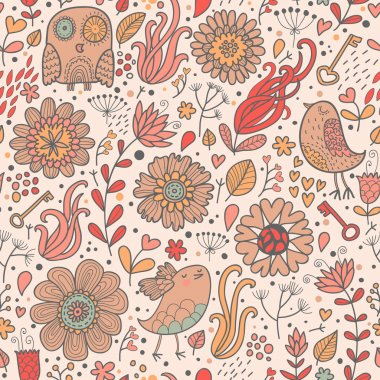 Vintage floral background with owl, flowers, keys, hearts and leafs
