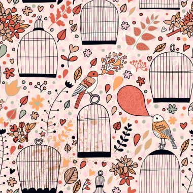 Gentle seamless pattern with cages and birds