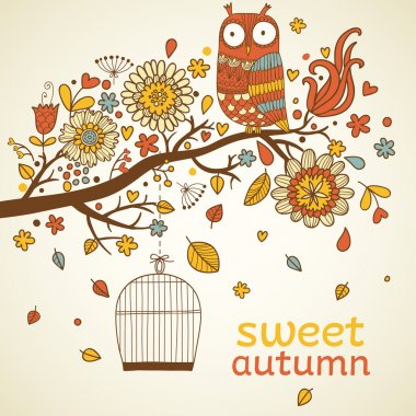 Sweet autumn concept card in vector.