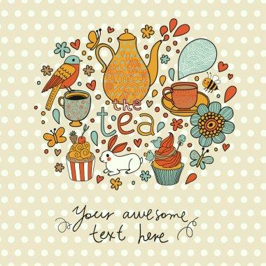 Tea, kettle, cups, cupcakes, rabbit, bird, flowers