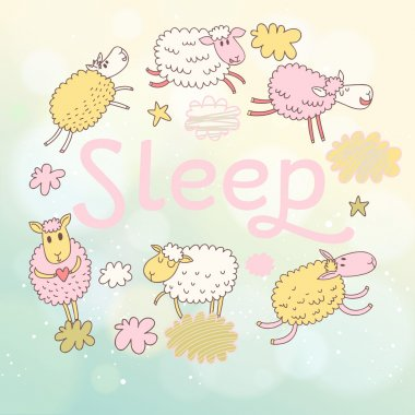 Funny sheep on clouds in vector card.