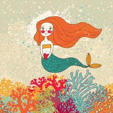 Cute card with mermaid in love.